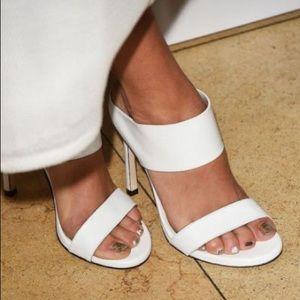 Stuart Weitzman White Sandal. Celebrities wear